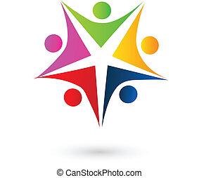 ロゴ, 人々, 星, swooshes