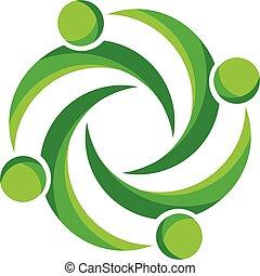 ロゴ, 人々, 緑ビジネス, チームワーク