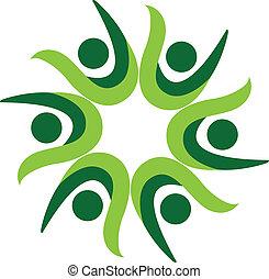 ロゴ, 人々, 緑, 成功, チームワーク
