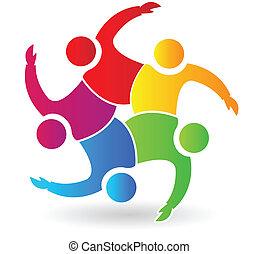 ロゴ, 人々, 5, 抱き合う, チームワーク