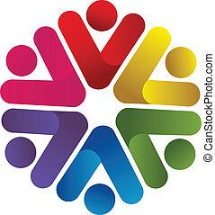 ロゴ, 会社, チームワーク, ビジネス