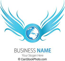 ロゴ, 会社, デザイン, 翼, 地球
