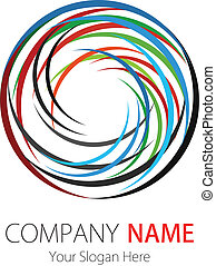 ロゴ, 会社, 弧, デザイン, 円