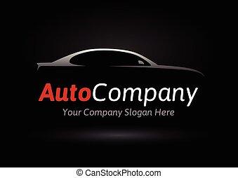 ロゴ, 会社, 車, シルエット, 自動車