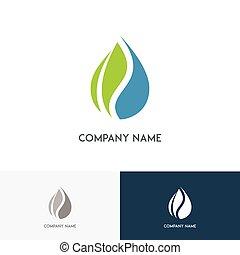 ロゴ, 低下, エコロジー, 葉