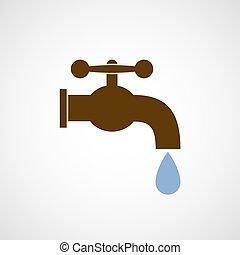 ロゴ, 低下, 蛇口, water.