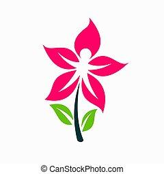 ロゴ, 作り, 人々, 花, 幸せ
