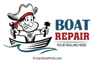 ロゴ, 修理, 釣り, 海賊, 保有物, 修理, hammer., 面白い, concept., 漫画, レンチ, ボート, mascot., ボート