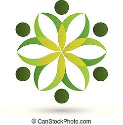 ロゴ, 健康, チームワーク, 自然, 人々
