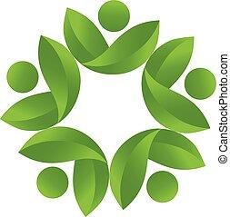 ロゴ, 健康, ベクトル, チームワーク, 自然
