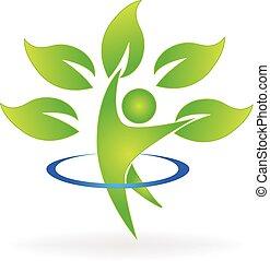 ロゴ, 健康, 木, 数字, 自然