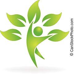 ロゴ, 健康, 木, 自然, 人々
