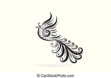ロゴ, 入れ墨, 鳥, フェニックス, アイコン