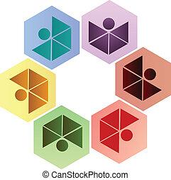 ロゴ, 六角形, チームワーク, 人々