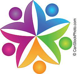 ロゴ, 共同, チームワーク, 人々