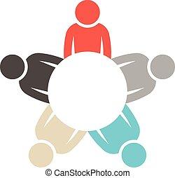 ロゴ, 円, グラフィック, グループ, 人々