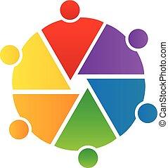 ロゴ, 円, チームワーク, 人々