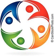 ロゴ, 円, チームワーク, swooshes