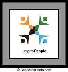 ロゴ, 円, ベクトル, アイコン, 人々
