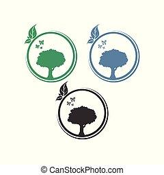 ロゴ, 円, ベクトル, 木, デザイン