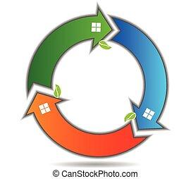 ロゴ, 円, 矢, leafs, 家