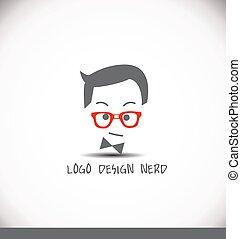ロゴ, 創造的, デザイン, nerd, 考え