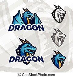 ロゴ, 創造的, template., ドラゴン