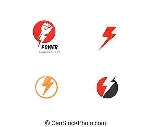 ロゴ, 力, テンプレート, 稲光