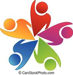 ロゴ, 労働者, チームワーク, 楽天的である