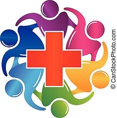 ロゴ, 医学, チームワーク, イメージ, 人々