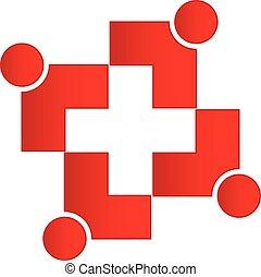 ロゴ, 医学, チームワーク, 交差点
