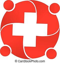 ロゴ, 医学, チームワーク, 人々