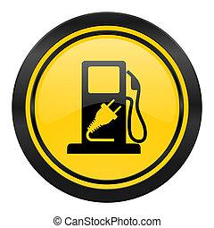 ロゴ, 印, ハイブリッド, 黄色, 燃料, アイコン