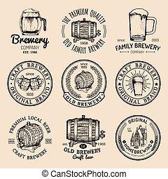 ロゴ, 古い, アイコン, 型, set., サイン, ビール, labels., 手, 大袈裟な表情をしなさい, ベクトル, レトロ, ガラス, sketched, 醸造所, クラフト, ∥など∥., ∥あるいは∥, 樽