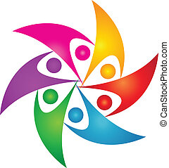 ロゴ, 合併した, デザイン, 人々, チームワーク