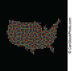 ロゴ, 地図, アメリカ, 点, ライト