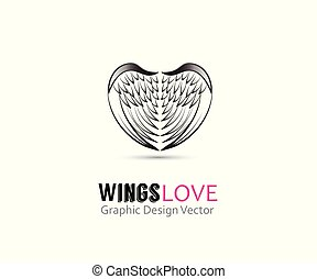 ロゴ, 天使, ベクトル, 形, 翼, 心