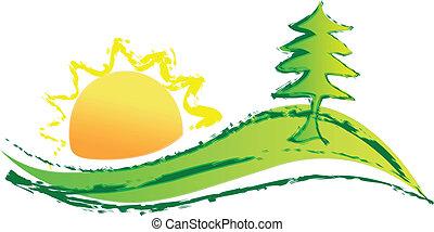 ロゴ, 太陽, 丘, 木