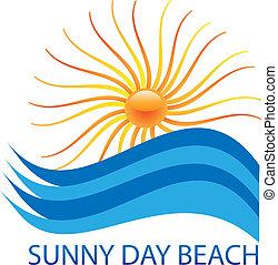 ロゴ, 太陽, 波