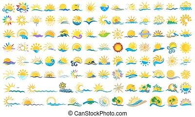 ロゴ, 太陽, sea.