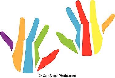 ロゴ, 子供, カラフルである, 手