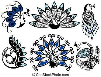 ロゴ, 孔雀, セット, design.