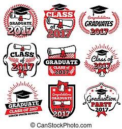 ロゴ, 学校, 卒業, 離れて, ラベル, 高く, ベクトル, 大学, セット