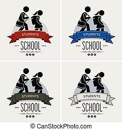 ロゴ, 学校, 背中, design.