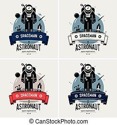 ロゴ, 宇宙飛行士, 宇宙人, design.