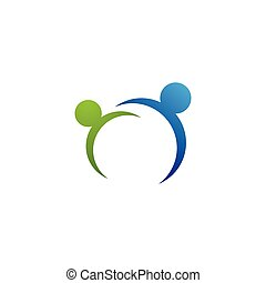 ロゴ, 家族, 共同体, ネットワーク, 社会, 心配