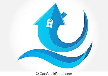 ロゴ, 家, 矢, シンボル, ベクトル