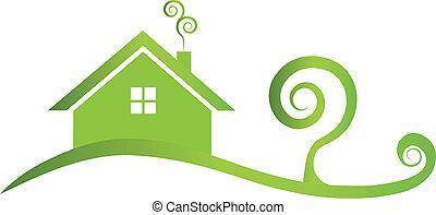 ロゴ, 家, swirly, 緑