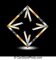 ロゴ, 対称的, ビジネス, 広場