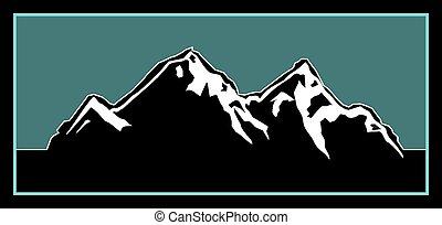 ロゴ, 屋外で, 山